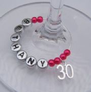 30th Birthday Personalised Wine Glass Charm